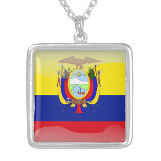 Ecuadorian glossy flag silver plated necklace