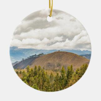 Ecuadorian Landscape at Chimborazo Province Round Ceramic Ornament