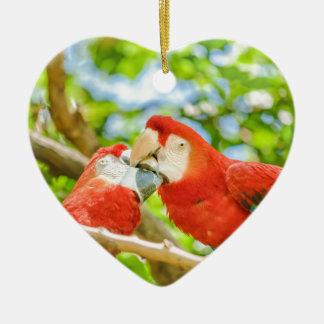 Ecuadorian Parrots at Zoo, Guayaquil, Ecuador Ceramic Heart Ornament