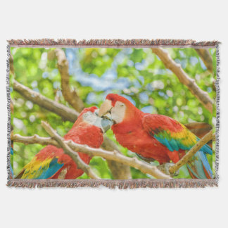 Ecuadorian Parrots at Zoo, Guayaquil, Ecuador Throw Blanket