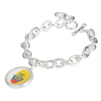 Ecuadorian touch fingerprint flag charm bracelet