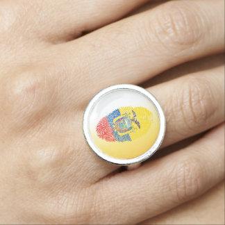 Ecuadorian touch fingerprint flag photo ring