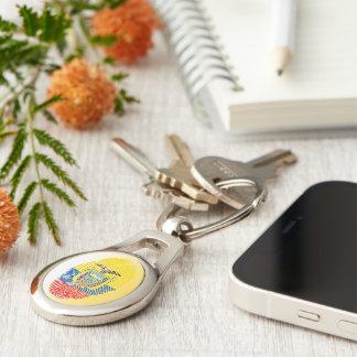 Ecuadorian touch fingerprint flag Silver-Colored oval keychain
