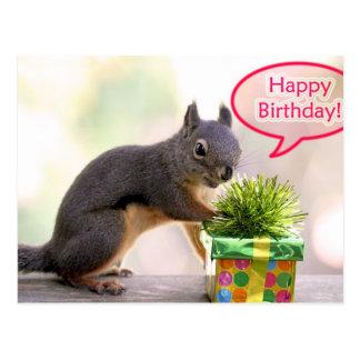 Écureuil de joyeux anniversaire carte postale