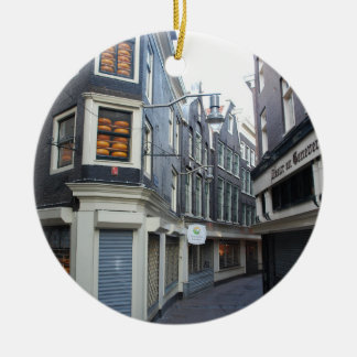 Edam cheeses in Amsterdam alley Round Ceramic Ornament