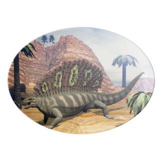 Edaphosaurus dinosaur - 3D render Porcelain Serving Platter