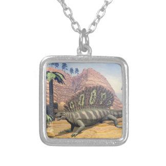 Edaphosaurus dinosaur - 3D render Silver Plated Necklace