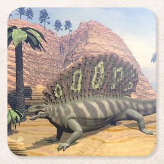Edaphosaurus dinosaur - 3D render Square Paper Coaster