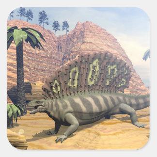 Edaphosaurus dinosaur - 3D render Square Sticker