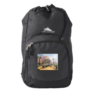 Edaphosaurus dinosaur walking in the desert backpack