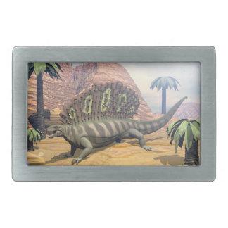 Edaphosaurus dinosaur walking in the desert belt buckle