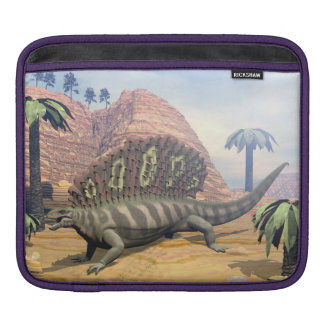 Edaphosaurus dinosaur walking in the desert iPad sleeve