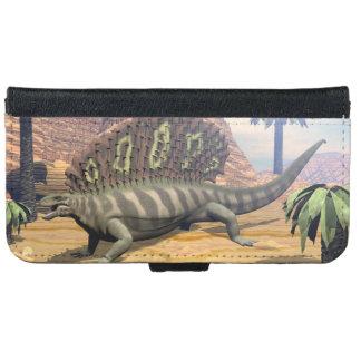 Edaphosaurus dinosaur walking in the desert iPhone 6 wallet case
