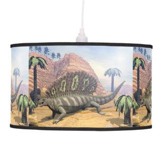 Edaphosaurus dinosaur walking in the desert pendant lamp