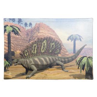 Edaphosaurus dinosaur walking in the desert placemat