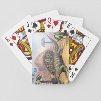 Edaphosaurus dinosaur walking in the desert playing cards