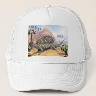 Edaphosaurus dinosaur walking in the desert trucker hat
