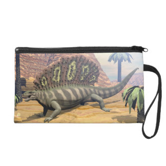 Edaphosaurus dinosaur walking in the desert wristlet