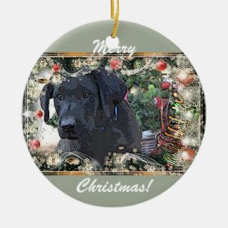 Eddie-Black Lab Christmas Ornament