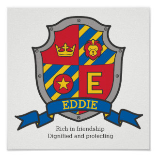 Eddie boys name meaning heraldry shield poster