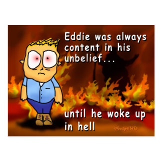 Eddie Wakes Up in Hell Postcard