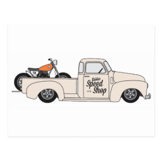 Eddies Speed Shop truck and bike Postcard