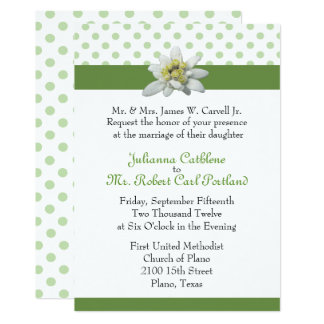 Edelweiss and Green Polka Dot Wedding Invitation
