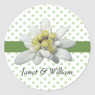 Edelweiss and Polka Dots Wedding Envelope Seal
