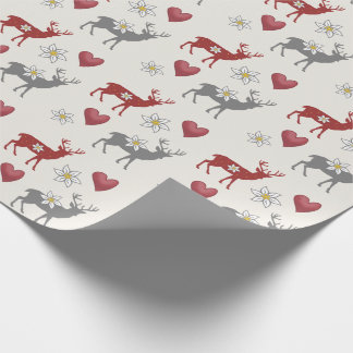 Edelweiss Deer and Hearts Wrapping Paper