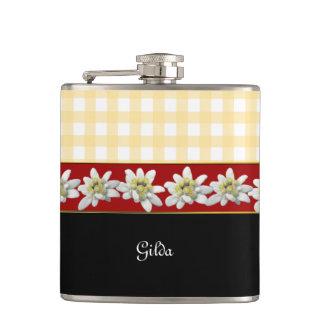 Edelweiss Flowers Custom Flask