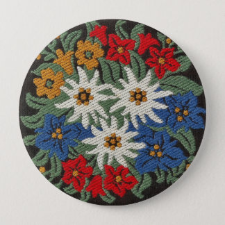 Edelweiss Swiss Alpine Flower 4 Inch Round Button