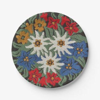 Edelweiss Swiss Alpine Flower Paper Plate