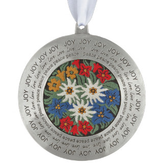 Edelweiss Swiss Alpine Flower Pewter Ornament