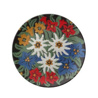 Edelweiss Swiss Alpine Flower Porcelain Plates