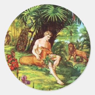 Eden Adam In The Garden Round Sticker