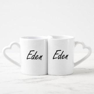 Eden artistic Name Design Lovers Mug Set