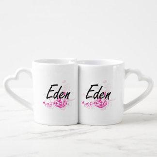 Eden Artistic Name Design with Flowers Lovers Mug Set