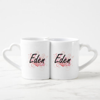 Eden Artistic Name Design with Flowers Lovers Mugs