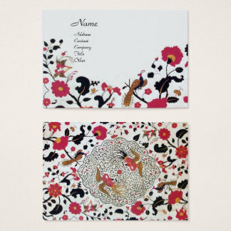 EDEN / FLORAL GARDEN WITH PEACOCK AND BUTTERFLIES BUSINESS CARD