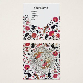 EDEN,WHIMSICAL GARDEN Red Black White Floral Pearl Square Business Card