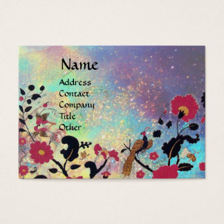 EDEN /Whimsical Magic Garden in Blue Gold Sparkles Business Card