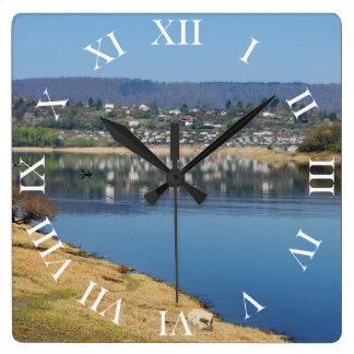 Edersee bay when bringing living square wall clock