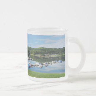 Edersee bay with separate frosted glass coffee mug