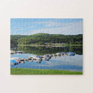 Edersee bay with separate jigsaw puzzle