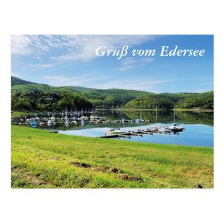 Edersee bay with separate postcard