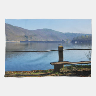 Edersee concrete dam from the water side kitchen towel