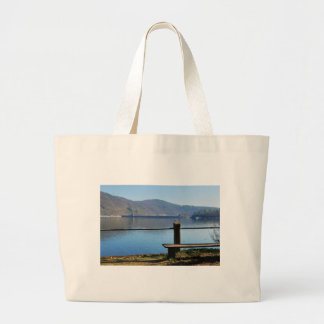 Edersee concrete dam from the water side large tote bag