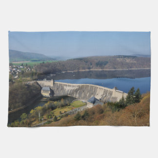 Edersee concrete dam in the spring kitchen towel