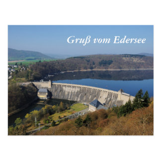 Edersee concrete dam in the spring postcard