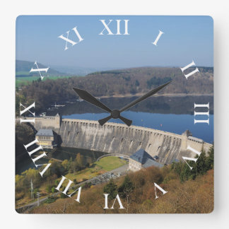 Edersee concrete dam in the spring square wall clock